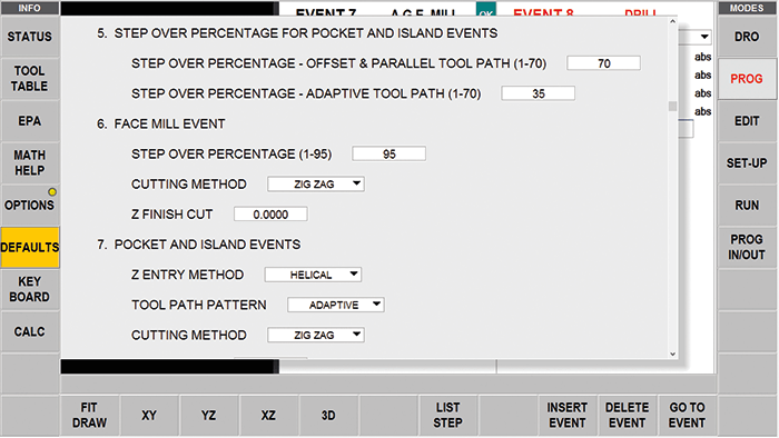 ProtoTRAK RMX CNC Adaptive Tool Path Settings